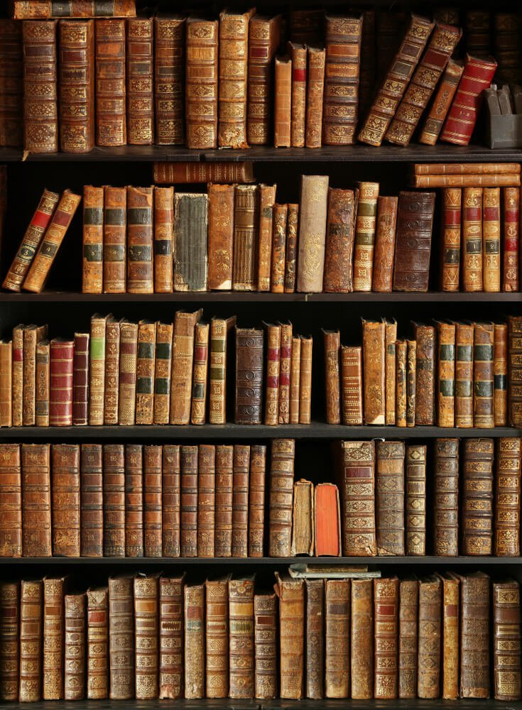 decorative image of old, antique books on in a library bookcase